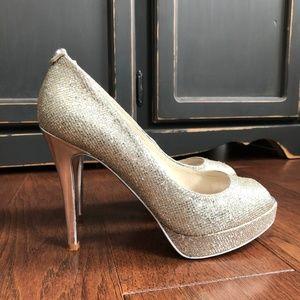 Michael Kors Silver Sparkle Glitter Platform Heels